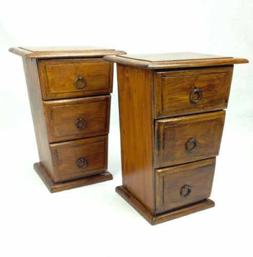 Wooden Collectors Drawers / Cabinets Tabletop Storage Pair Unusual Shape